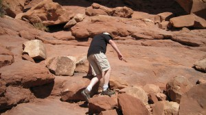 Carl climbing towards Double Arch