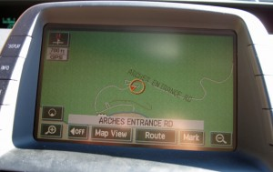GPS showing the road weaving up the canyon