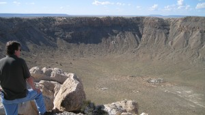 Carl standing on the rim of the Meteor Crater