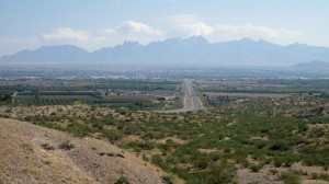 View of Las Cruces, note Organ Mountain range in distance
