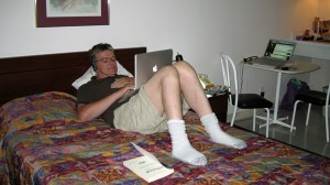 Carl relaxed with his MacBook