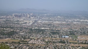 View of Phoenix from South Mountain. Notice Camelback Mountain in distance.