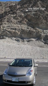 Car in parking lot - against mountain that shows where sea level is