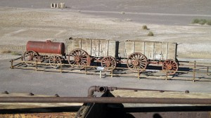 The borax filled box cars and water tank that were drawn by the 20 mules.