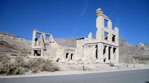 Rhyolite - Cook Bank.  Notice the two bank vaults and the trim left at the top of the building.
