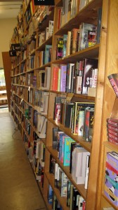 Bookshelves at Powells, notice how they slant so that you can see all the book titles?