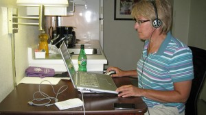 Judi working on blog...